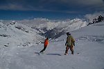 men snowboarding at St Anton, Austria, Europe 2014,