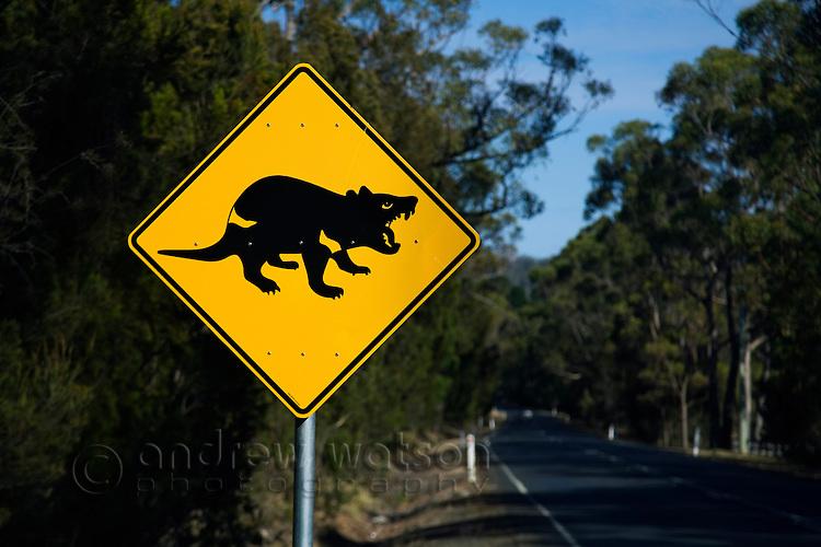 Tasmanian devil road sign.  Port Arthur, Tasmania, AUSTRALIA
