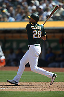 OAKLAND, CA - AUGUST 15:  Matt Olson #28 of the Oakland Athletics bats against the Seattle Mariners during the game at the Oakland Coliseum on Wednesday, August 15, 2018 in Oakland, California. (Photo by Brad Mangin)