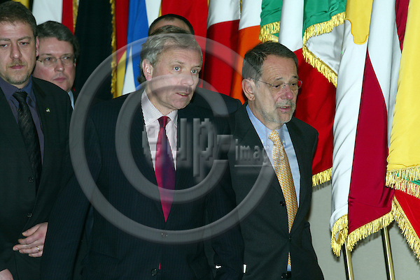 BRUSSELS - BELGIUM - 16 FEBRUARY 2004--From left Javier SOLANA, EU High Representative for CFSP and Jaap de HOOP SCHEFFER, NATO Secretary General giving after the PSC/NAC meeting - Common Security Council-- PHOTO: ERIK LUNTANG / EUP-IMAGES