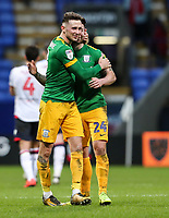 Preston North End's Alan Browne and Sean Maguire celebrate victory<br /> <br /> Photographer Andrew Kearns/CameraSport<br /> <br /> The EFL Sky Bet Championship - Bolton Wanderers v Preston North End - Saturday 9th February 2019 - University of Bolton Stadium - Bolton<br /> <br /> World Copyright &copy; 2019 CameraSport. All rights reserved. 43 Linden Ave. Countesthorpe. Leicester. England. LE8 5PG - Tel: +44 (0) 116 277 4147 - admin@camerasport.com - www.camerasport.com