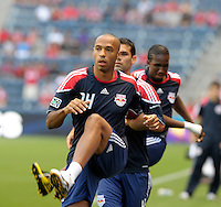 New York forward Thierry Henry (14) warms up before the game.  The Chicago Fire tied the New York Red Bulls 0-0 at Toyota Park in Bridgeview, IL on August 8, 2010