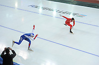 SPEED SKATING: STAVANGER: Sørmarka Arena, 29-01-2016, ISU World Cup, 500m Men Division A, Aleksey Yesin (RUS), Espen Aarnes Hvammen (NOR), ©photo Martin de Jong