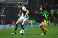Blackburn Rovers' Sam Gallagher under pressure from Preston North End's Ben Pearson<br /> <br /> Photographer Kevin Barnes/CameraSport<br /> <br /> The EFL Sky Bet Championship - Blackburn Rovers v Preston North End - Saturday 11th January 2020 - Ewood Park - Blackburn<br /> <br /> World Copyright © 2020 CameraSport. All rights reserved. 43 Linden Ave. Countesthorpe. Leicester. England. LE8 5PG - Tel: +44 (0) 116 277 4147 - admin@camerasport.com - www.camerasport.com