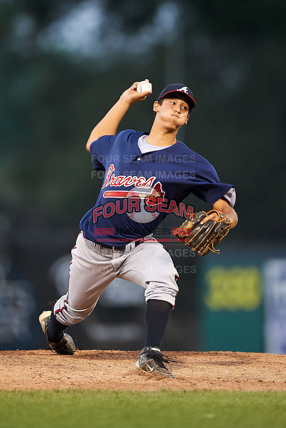 Dane Dunning #29 of Clay High School in Fleming Island, Florida playing for the Atlanta Braves scout team during the East Coast Pro Showcase at Alliance Bank Stadium on August 3, 2012 in Syracuse, New York.  (Mike Janes/Four Seam Images)