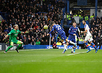 9th November 2019; Stamford Bridge, London, England; English Premier League Football, Chelsea versus Crystal Palace; Christian Pulisic of Chelsea with a diving header to score his sides 2nd goal in the 79th minute to make it 2-0 - Strictly Editorial Use Only. No use with unauthorized audio, video, data, fixture lists, club/league logos or 'live' services. Online in-match use limited to 120 images, no video emulation. No use in betting, games or single club/league/player publications