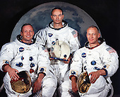 """Houston, TX - (FILE) -- Portrait of the prime crew of the Apollo 11 lunar landing mission taken on May 1, 1969. From left to right they are: Commander, Neil A. Armstrong, Command Module Pilot, Michael Collins, and Lunar Module Pilot, Edwin E. Aldrin Jr. On July 20th 1969 at 4:18 PM, EDT the Lunar Module """"Eagle"""" landed in a region of the Moon called the Mare Tranquillitatis, also known as the Sea of Tranquillity. After securing his spacecraft, Armstrong radioed back to earth: """"Houston, Tranquility Base here, the Eagle has landed"""". At 10:56 p.m. that same evening and witnessed by a worldwide television audience, Neil Armstrong stepped off the """"Eagle's landing pad onto the lunar surface and said: """"That's one small step for a man, one giant leap for mankind."""" He became the first human to set foot upon the Moon..Credit: NASA via CNP"""