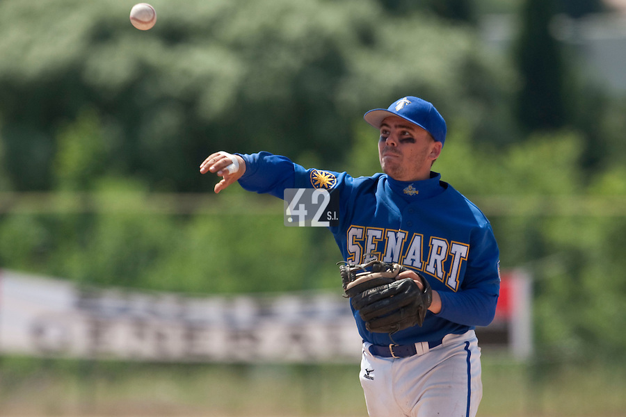24 May 2009: Damien Teygeman of Senart throws the ball during the 2009 challenge de France, a tournament with the best French baseball teams - all eight elite league clubs - to determine a spot in the European Cup next year, at Montpellier, France. Senart wins 8-5 over La Guerche.