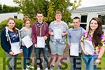 L-R Michaela O'Connor, Ciara Wakefield, Michael O'Shea, Shane O'Shea, Dean Foley and Kathlynn Coffey from Killorglin Community College after receiving their Leaving Cert results last Wednesday morning.