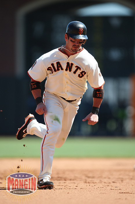 SAN FRANCISCO - AUGUST 24:  Aaron Rowand of the San Francisco Giants runs the bases during the game against the San Diego Padres at AT&T Park in San Francisco, California on August 24, 2008.  The Giants defeated the Padres 7-4.  Photo by Brad Mangin