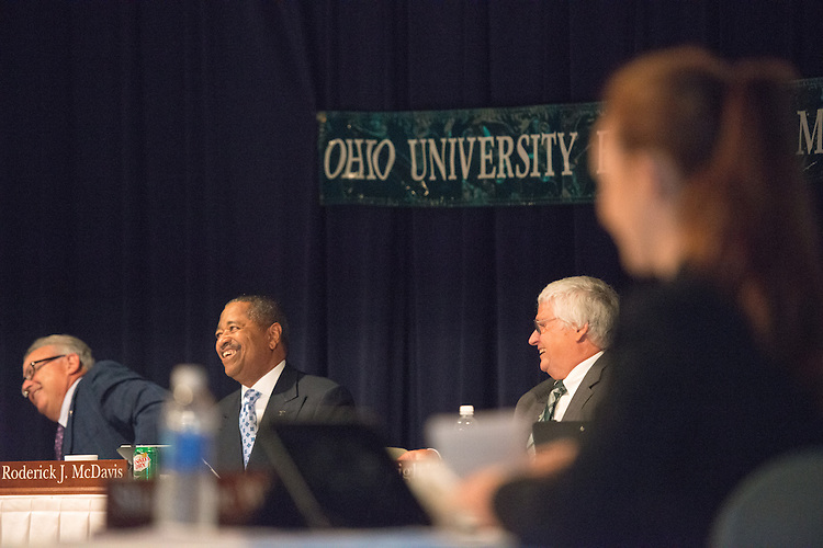 Ohio University President Roderick McDavis reacts to a video commemorating his tenth anniversary as President during a Board of Trustees meeting at the Ohio University Eastern Campus on June 27. Photo by Ben Siegel/ Ohio University