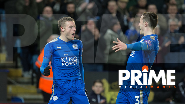 Jamie Vardy of Leicester City celebrates his goal with Ben Chilwell of Leicester City during the FA Cup 5th round match between Leicester City and Sheff United at the King Power Stadium, Leicester, England on 16 February 2018. Photo by Andy Rowland.