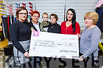 Enga Peremitina and Daniel Klimentjevs receive a cheque in the amount of € 6314.00 from a Go Fund Me appeal by the staff of Zip Yard, Tralee on Tuesda, after the tragic death of her husband Valerijs last month.  L-r, Katie Harnett (Store Manager), Zofia Mista, Enga Peremitina and Daniel Klimentjevs, Laura McCrohan and Valeria Velea.