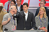 United States Speaker of the House Paul Ryan (Republican of Wisconsin) and his wife Janna participate in a rehearsal prior to the 2016 Republican National Convention in Cleveland, Ohio on Sunday, July 17, 2016.  Standing behind them and pointing is US .<br /> Credit: Ron Sachs / CNP<br /> (RESTRICTION: NO New York or New Jersey Newspapers or newspapers within a 75 mile radius of New York City)
