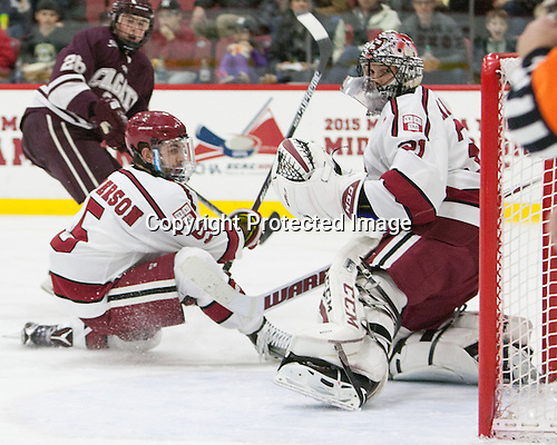 Clay Anderson (Harvard - 5), Merrick Madsen (Harvard - 31) - The Harvard University Crimson defeated the visiting Colgate University Raiders 7-4 (EN) on Saturday, February 20, 2016, at Bright-Landry Hockey Center in Boston, Massachusetts,