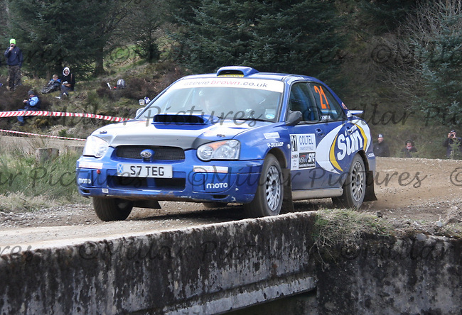 Stevie Brown / Jack Morton in a Subaru Impreza at Junction 3 on John Lawrie Group Special Stage 5 Fettersso 2 of the Coltel Granite City Rally 2012 which was based at the Thainstone Agricultural Centre, Inverurie.