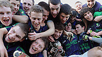 19-02-12: St. Colmans Fermoy Captain Noel McNamara and teammates celebrate after defeating Mercy Mounthawk, Tralee, in the Munster Colleges B final in Knocknagree on Sunday.   Picture: Eamonn Keogh (MacMonagle, Killarney)