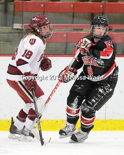 Cori Bassett (Harvard - 18), Alyssa Wohlfeiler (NU - 8) - The Harvard University Crimson defeated the Northeastern University Huskies 1-0 to win the 2010 Beanpot on Tuesday, February 9, 2010, at the Bright Hockey Center in Cambridge, Massachusetts.