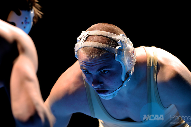 12 MAR 2011: Phil Moenkedick of Concordia Moorehead and Ben Engelland of Steven's Point battle for the 184 lbs championship during the Division III Men's Wrestling Championship held at the La Crosse Center in La Crosse Wisconsin. Moenkedick defeated Engelland 2-1 to claim the national title. Stephen Nowland/NCAA Photos