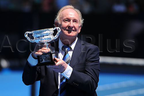26.01.2016. Melbourne Park, Melbourne, Australia. Australian Open Tennis Championships. Rod Laver (AUS) is awarded the Companion of the Order of Australia and given a replica of his 1969 winners trophy