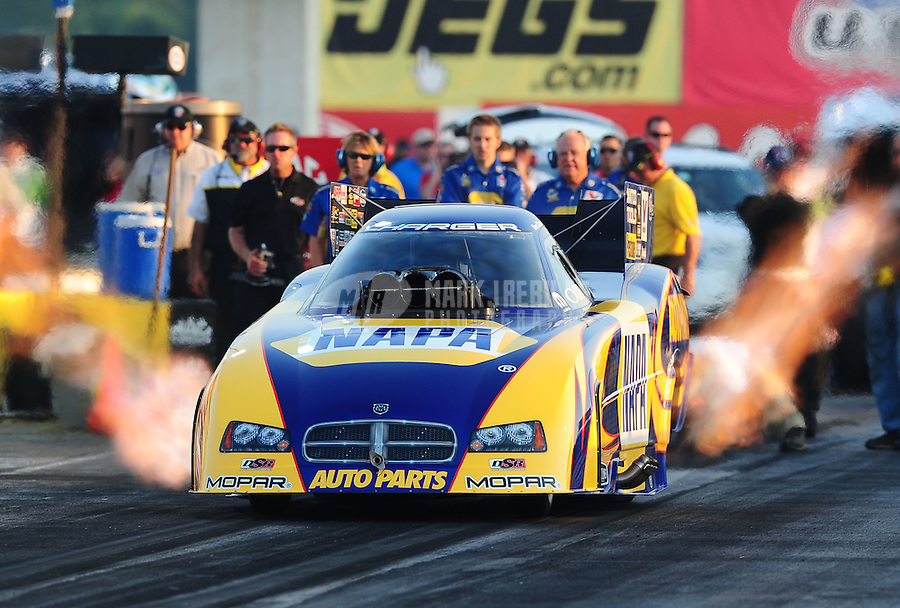 Sept. 2, 2011; Claremont, IN, USA: NHRA funny car driver Ron Capps during qualifying for the US Nationals at Lucas Oil Raceway. Mandatory Credit: Mark J. Rebilas-