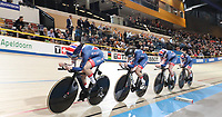 Picture by SWpix.com - 01/03/2018 - Cycling - 2018 UCI Track Cycling World Championships, Day 2 - Omnisport, Apeldoorn, Netherlands - Women's Team Pursuit First Round - Eleanor Dickinson, Katie Archibald, Laura Kenny and Elinor Barker of Great Britain