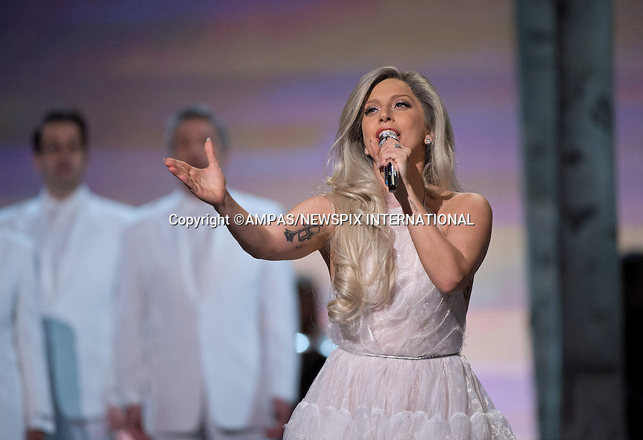 22.02.2015; Hollywood, California: 87TH OSCARS - LADY GAGA<br /> performs during the Annual Academy Awards Live Telecast, Dolby Theatre, Hollywood.<br /> Mandatory Photo Credit: NEWSPIX INTERNATIONAL<br /> <br />               **ALL FEES PAYABLE TO: &quot;NEWSPIX INTERNATIONAL&quot;**<br /> <br /> PHOTO CREDIT MANDATORY!!: NEWSPIX INTERNATIONAL(Failure to credit will incur a surcharge of 100% of reproduction fees)<br /> <br /> IMMEDIATE CONFIRMATION OF USAGE REQUIRED:<br /> Newspix International, 31 Chinnery Hill, Bishop's Stortford, ENGLAND CM23 3PS<br /> Tel:+441279 324672  ; Fax: +441279656877<br /> Mobile:  0777568 1153<br /> e-mail: info@newspixinternational.co.uk