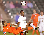 14 November 2008: Virginia's Ross LaBauex (8) and Wake Forest's Michael Lahoud (13). The University of Virginia defeated Wake Forest 3-2 in two overtimes at WakeMed Stadium at WakeMed Soccer Park in Cary, NC in a men's ACC tournament semifinal game.