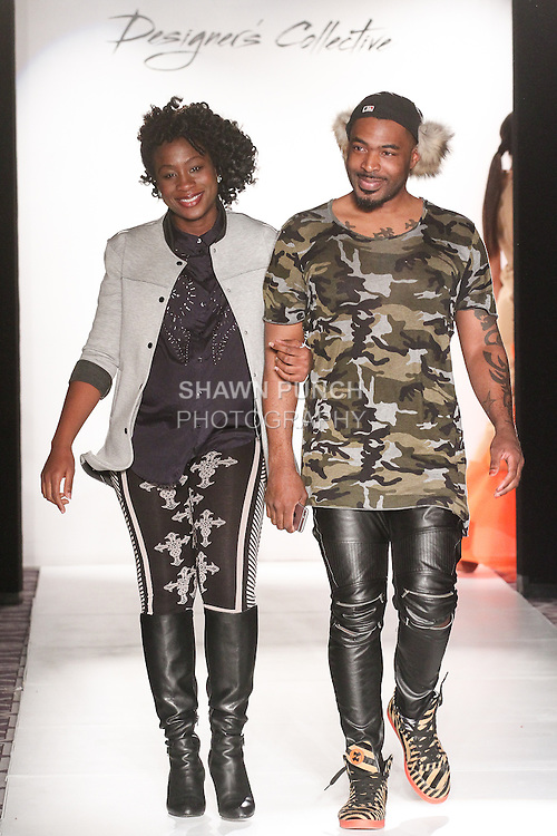 J. Loren fashion designers walk runway at the close of their J. Loren Fall 2015 collection runway show, during the Accessories Premier Fall Winter 2015 fashion show for  Fashion Gallery New York Fashion Week Fall 2015.