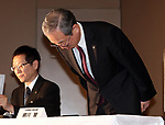 March 14, 2017, Tokyo, Japan - Troubled Japanese electroinics giant Toshiba president Satoshi Tsunakawa bows his head as the company delayed to release financial result at the Toshiba headquarters in Tokyo on Monday, March 14, 2017. If Toshiba fails to meet the next deadline, it could be delisted from the Tokyo Stock Exchange.    (Photo by Yoshio Tsunoda/AFLO) LwX -ytd-
