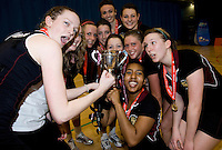 11 MAR 2009 - SHEFFIELD,GBR - Loughborough University celebrate their victory over the University of Bath in the Netball Championship Final at the 2009 BUCS Championships. (PHOTO (C) NIGEL FARROW)
