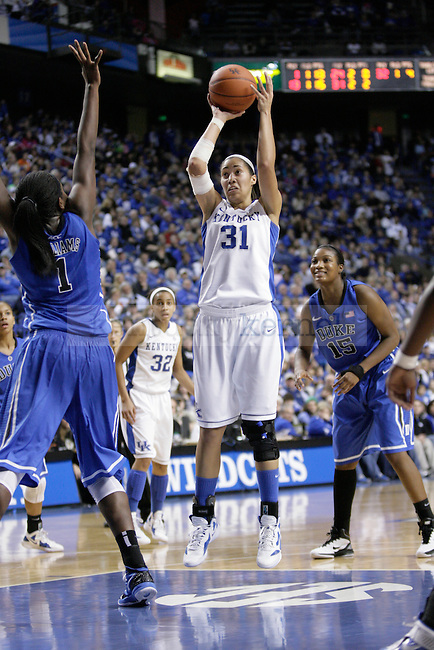 UK's Samantha Drake puts a shot up against Duke at Rupp Arena on Thursday, Dec. 8, 2011. Photo by Scott Hannigan | Staff