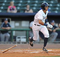NWA Democrat-Gazette/ANDY SHUPE<br /> Northwest Arkansas Naturals second baseman Kenny Diekroeger hits the ball against San Antonio Wednesday, Aug. 12, 2015, at Arvest Ballpark in Springdale.