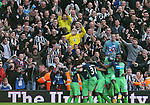 Newcastle fans celebrate the second goal by Fabrizo Coloccini of Newcastle United  - Barclays Premier League - WBA vs Newcastle Utd - Hawthorns Stadium - West Bromwich - England - 9th November 2014  - Picture Simon Bellis/Sportimage