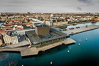 027 190110 Dronebilleder af Den lille  Havfrue, Kastellet, Amager Bakke, Papir&oslash;en, Skuespilhuset, Amalienborg og Inderhavnsbroen.<br /> Foto: Jens Panduro