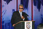 28 August 2005: United Soccer Leagues Founder Francisco Marcos talks to the attendees during dinner before unveiling a new Hall of Fame exhibit covering the history of the USL. The Hall of Fame President's Dinner took place at the United States Soccer Hall of Fame in Oneonta, New York the night before the 2005 induction ceremony.