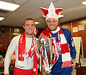 Peter Winn (l) and Chris Day of Stevenage celebrate in the dressing room after winning the npower League 2 play-off final between Stevenage and Torquay United at Old Trafford, Manchester on 28th May, 2011.© Kevin Coleman 2011.