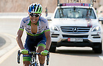 Esteban Chavez (COL) Orica GreenEdge makes his break near the end of Stage 3, The Al Ain Stage, of the 2015 Abu Dhabi Tour starting from the Al Qattara Souq in Al Ain and running 129 km to the mountain top finish at Jebel Hafeet at 1025 metres, Abu Dhabi. 10th October 2015.<br /> Picture: ANSA/Claudio Peri | Newsfile