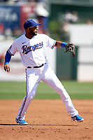 Texas Rangers shortstop Elvis Andrus (1) during a Cactus League Spring Training game against the Los Angeles Dodgers on March 8, 2020 at Surprise Stadium in Surprise, Arizona. Rangers defeated the Dodgers 9-8. (Tracy Proffitt/Four Seam Images)