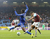 Burnley's Ashley Westwood shoots from close-range despite the attentions of Leicester City's Wilfred Ndidi<br /> <br /> Photographer Rich Linley/CameraSport<br /> <br /> The Premier League - Burnley v Leicester City - Saturday 16th March 2019 - Turf Moor - Burnley<br /> <br /> World Copyright © 2019 CameraSport. All rights reserved. 43 Linden Ave. Countesthorpe. Leicester. England. LE8 5PG - Tel: +44 (0) 116 277 4147 - admin@camerasport.com - www.camerasport.com