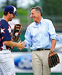 3 July 2011: Vermont Governor Peter Shumlin smiles with Vermont Lake Monsters pitcher Kurt Wunderlich who caught the ceremonial first pitch from Shumlin prior to a game against the Tri-City ValleyCats at Centennial Field in Burlington, Vermont. The Lake Monsters rallied from a 6-3 deficit, scoring 4 runs in the bottom of the 9th, to defeat the ValletCats 7-6 in NY Penn League action. Mandatory Credit: Ed Wolfstein Photo