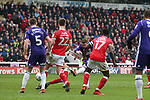 John Fleck of Sheffield Utd scores his goal during the championship match at the Oakwell Stadium, Barnsley. Picture date 7th April 2018. Picture credit should read: Simon Bellis/Sportimage