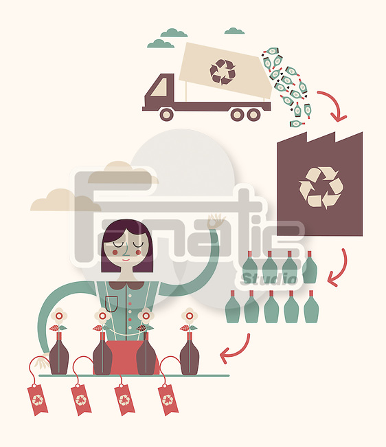 Illustration of recycling concept