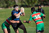 Sean Bagshaw looks to get a pass away over the head of Apec Togofau. Counties Manukau Premier Club Rugby game between Onewhero and Waiuku, played at Onewhero on Saturday May 26th 2018. Onewhero won the game 24 - 20 after leading 17 - 12 at halftime. <br /> Onewhero Silver Fern Marquees 24 -Vaughan Holdt, Filipe Pau, Sean Bagshaw tries, Rhain Strang 3 conversions, Rhain Strang penalty.<br /> Waiuku Brian James Contracting 20 - Christian Walker, Fuifatu Asomua, Aaron Yuill tries, Christian Walker conversion, Christian Walker penalty .<br /> Photo by Richard Spranger.