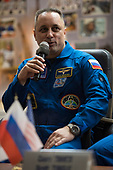 Expedition 54 Soyuz Commander Anton Shkaplerov of Roscosmos answers a question during a press conference, Saturday, December 16, 2017 at the Cosmonaut Hotel in Baikonur, Kazakhstan. Shkaplerov, flight engineer Scott Tingle of NASA, and flight engineer Norishige Kanai of Japan Aerospace Exploration Agency (JAXA) are scheduled to launch to the International Space Station aboard the Soyuz spacecraft from the Baikonur Cosmodrome on December 17. <br /> Mandatory Credit: Joel Kowsky / NASA via CNP