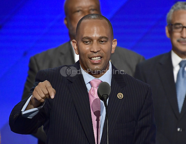 United States Representative Hakeem Jefferies (Democrat of New York) makes remarks during the third session of the 2016 Democratic National Convention at the Wells Fargo Center in Philadelphia, Pennsylvania on Wednesday, July 27, 2016.<br /> Credit: Ron Sachs / CNP/MediaPunch<br /> (RESTRICTION: NO New York or New Jersey Newspapers or newspapers within a 75 mile radius of New York City)