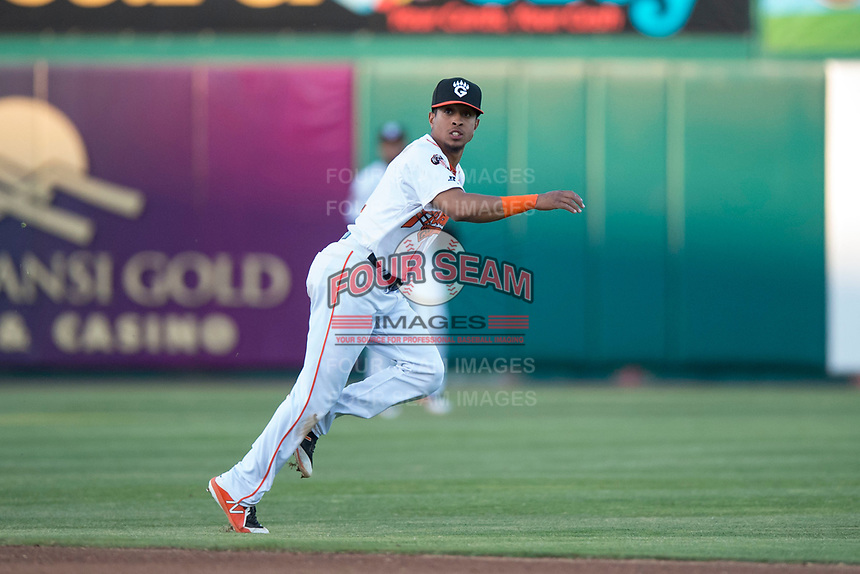 Fresno Grizzlies shortstop Antonio Nunez (2) follows through on a throw to first base during a Pacific Coast League game against the Salt Lake Bees at Chukchansi Park on May 14, 2018 in Fresno, California. Fresno defeated Salt Lake 4-3. (Zachary Lucy/Four Seam Images)