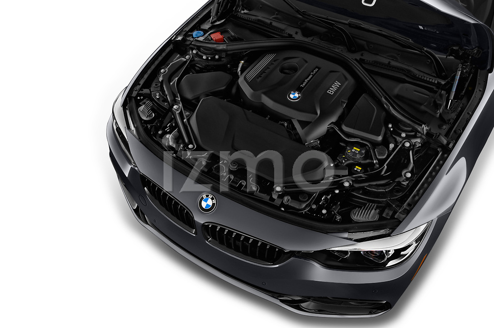 Car stock 2019 BMW 4 Series 430i 2 Door Convertible engine high angle detail view
