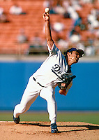 Hideo Nomo of the Los Angeles Dodgers during a game at Dodger Stadium in Los Angeles, California during the 1997 season.(Larry Goren/Four Seam Images)