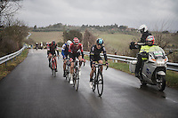Michal Kwiatkowski (POL/SKY), Tim Wellens (BEL/Lotto-Soudal), Zdenek Stybar (CZE/QuickStep Floors) & Greg Van Avermaet (BEL/BMC) broke free from the rest and are disputing the finale among them<br /> <br /> 11th Strade Bianche 201711th Strade Bianche 2017